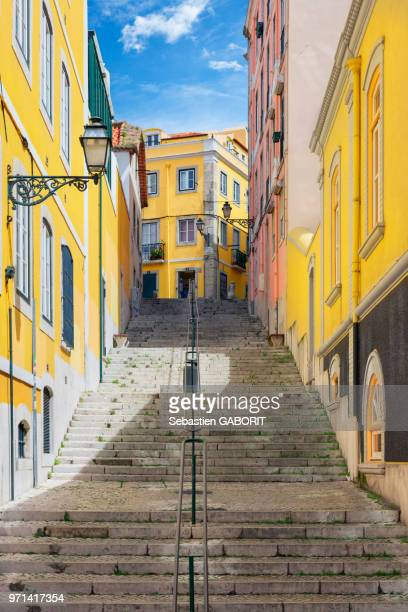 Perspective view of a narrow street. Lisbon, Portugal.