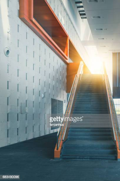 perspective view of empty staircase in office building