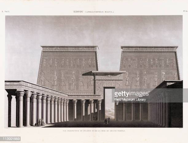 Perspective View of Pylon and the Court of the Grand or Great Temple Edfou Volume I Plate 61 Description de l'Egypte 1809 1828 published by the...
