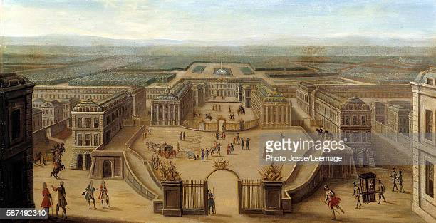 Perspective view of the Castle of Versailles from the Place d'Armes at the end of the reign of Louis XIV Anonymous painting of the French School 18th...