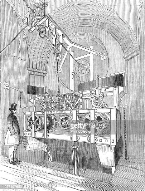 Perspective view of the Great Clock of the Royal Exchange, 1844. 'The clock of our Exchange is now going, and what is of equal importance, it is...