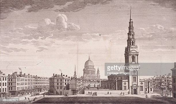 Perspective view of the north west front of St Bride London 1753 Also showing surrounding area and St Paul's Cathedral