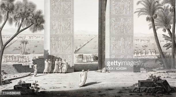 Perspective view of the Northern gate, detail, Dendera Temple complex, Egypt, engraving by Bovinet and Sellier after a drawing by Chabrol and Jomard,...