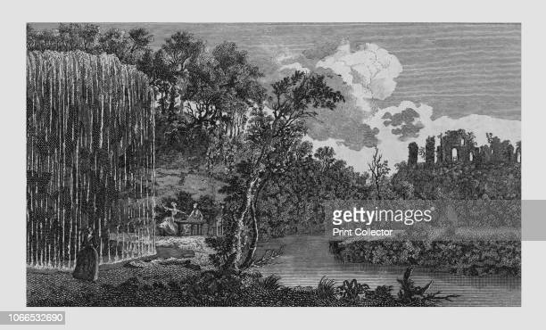 Perspective View of the Petrifying or Dropping Well and Ruins of Knaresbrough Castle in Yorkshire' 1771 Visitors marvel at the natural phenomenon...