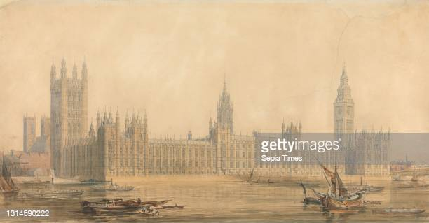The New Houses of Parliament, Sir Charles Barry, 1795–1860, British, ca. 1840-1849, Watercolor over traces of graphite, with gouache, pen and black...