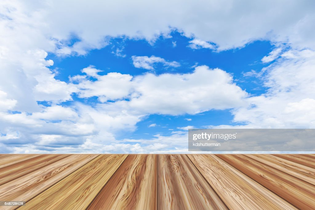 Perspective Wooden Board Empty Table Top Sky With Cloudy Stock Photo
