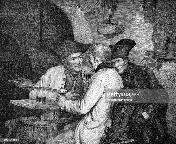 Persuasion three men sit together at a small office and talk Ueberredung drei Maenner sitzen zusammen an einem Wirtshaustisch und reden digital...