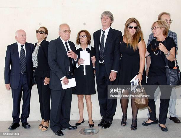 Pertegaz relatives attend the funeral for the Spanish designer Manuel Pertegaz on August 31 2014 in Barcelona Spain