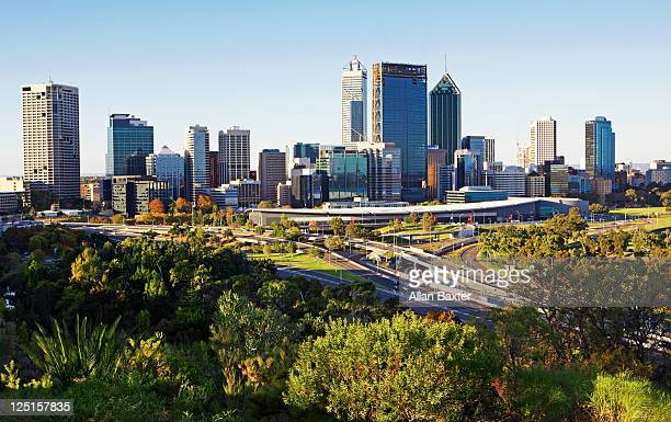perth at dusk - perth australia stock pictures, royalty-free photos & images