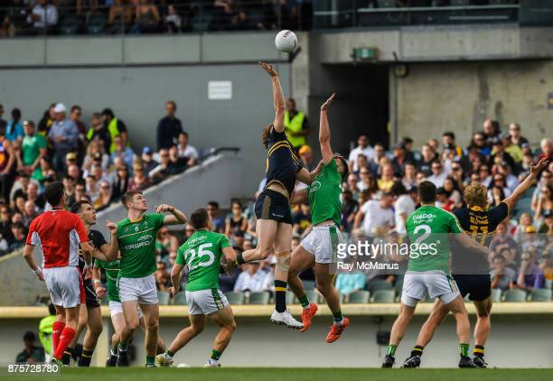 Perth Australia 18 November 2017 Aidan O Shea of Ireland is tackled by Ben Brown of Australia as they both jump for the ball during the Virgin...