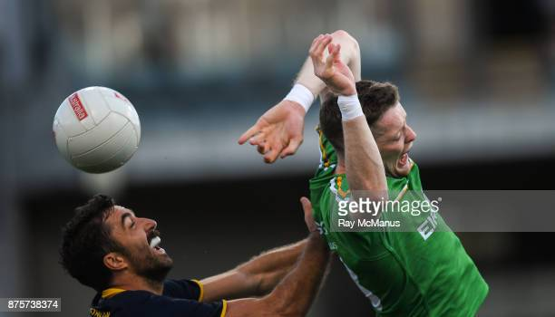 Perth Australia 18 November 2017 Conor McManus of Ireland tackled by Kade Simpson of Australia during the Virgin Australia International Rules Series...