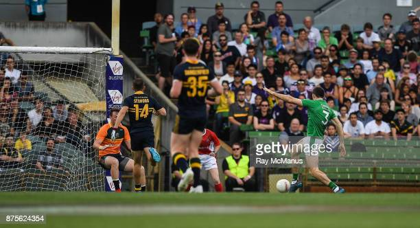 Perth Australia 18 November 2017 Gary Brennan of Ireland scores his side's first goal during the Virgin Australia International Rules Series 2nd test...