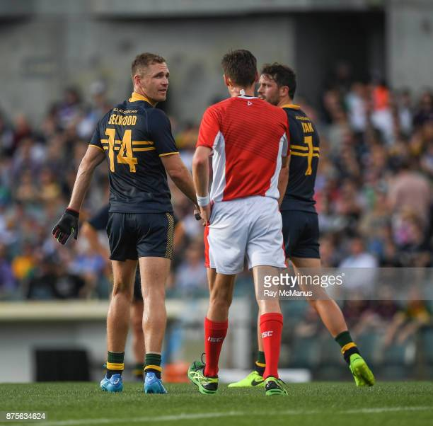 Perth Australia 18 November 2017 Joel Selwood of Australia reacts after been shown a black card by Referee Matt Stevic during the Virgin Australia...