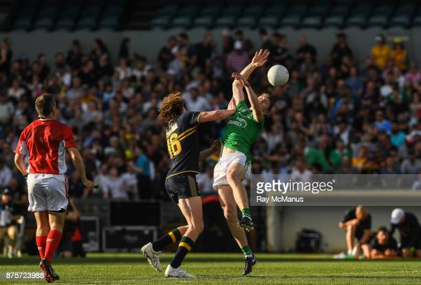 Perth Australia 18 November 2017 Kevin Feely of Ireland is tackled by Ben Brown of Australia during the Virgin Australia International Rules Series...