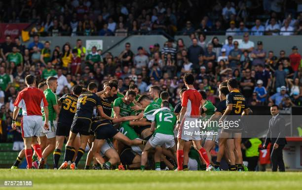 Perth Australia 18 November 2017 Players from both sides become involved in a scuffle as they head to the changing rooms at half time in the Virgin...