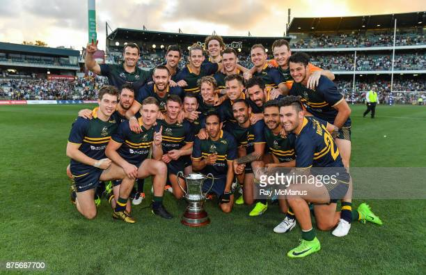 Perth Australia 18 November 2017 The Australian team with the Cormac McAnallen Cup after the Virgin Australia International Rules Series 2nd test at...