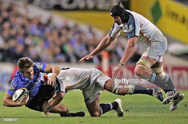 Australian Western Force Luke Holmes is brought to the ground by South African Cheetahs Heinrich Brussouw and teammate Corniel Van Ziel during the...