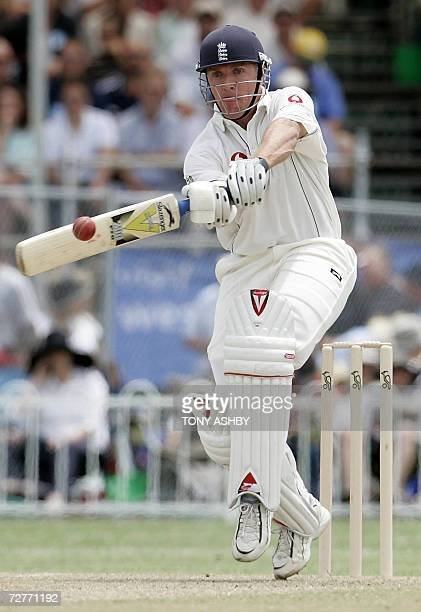 England captain and former test captain Alec Stewart dances down the wicket during the match at Lilac Hill, in Perth, 08 December 2006. The match, an...