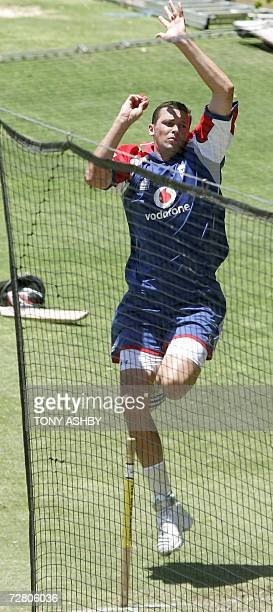 England paceman Steve Harmison works up some speed working out in the nets at a training session at the WACA as the team prepares for the third Ashes...