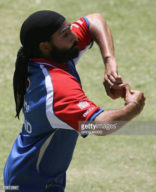 England spin bowler Monty Panesar runs during a training session on the eve of the third Ashes cricket Test against Australia at the WACA ground in...