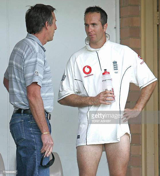 England's 2005 Asheswinning captain Michael Vaughan speaks with his former Yorkshire coach Wayne Clark a former Australian test bowler at Richardson...