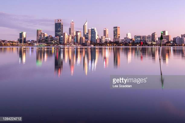 perth city at sunrise - perth australia stock pictures, royalty-free photos & images