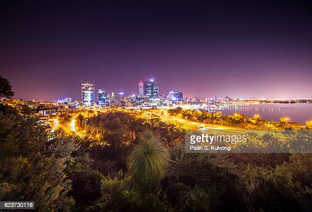 Perth City night view on Mount Eliza, Western Australia, Australia