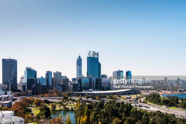 perth city skyline - perth stock pictures, royalty-free photos & images