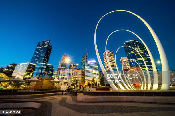 perth city waterfront during twilight night in perth, western australia, australia. - perth australia stock pictures, royalty-free photos & images