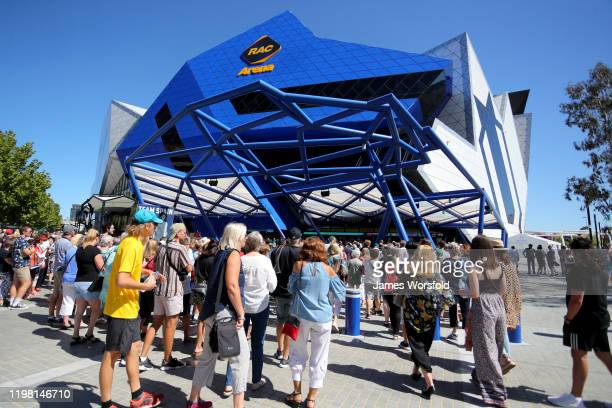 Perth crowd arrive at RAC Arena for day six of the 2020 ATP Cup Group Stage at RAC Arena on January 08 2020 in Perth Australia