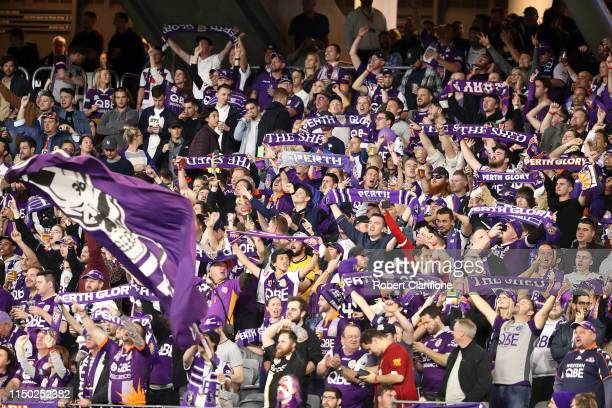 Perth fans cheer during the 2019 ALeague Grand Final match between the Perth Glory and Sydney FC at Optus Stadium on May 19 2019 in Perth Australia