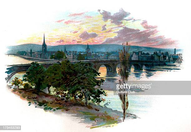 Perth from Bridge End after a photograph by J Valentine & Son, Dundee.