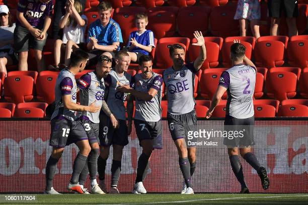 Perth Glory celebrate after scoring during the round four BL match between Adelaide United and Perth Glory at Coopers Stadium on November 11 2018 in...