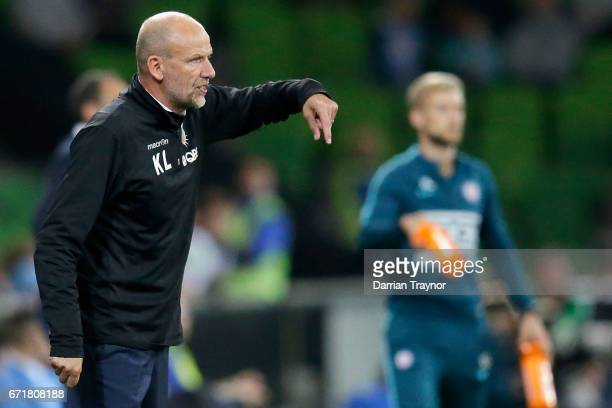 Perth Glory coach Kenny Lowe givers instructions during the ALeague Elimination Final match between Melbourne City FC and the Perth Glory at AAMI...