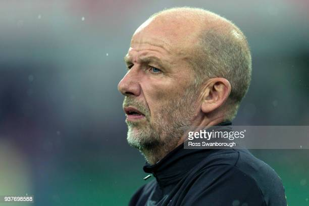 Perth Glory coach Kenny Lowe looks on during the round 24 ALeague match between the Perth Glory and the Melbourne Victory at nib Stadium on March 25...