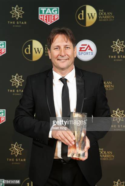 Perth Glory FC coach Bobby Despotovski poses with the WLeague Coach of the Year award during the FFA Dolan Warren Awards at The Star on May 1 2017 in...