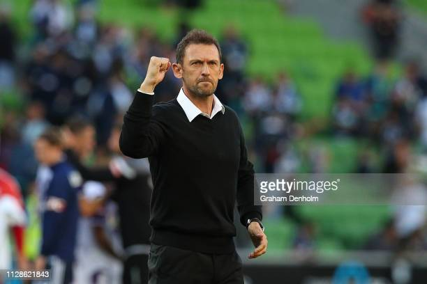 Perth Glory Head Coach Tony Popovic celebrates victory in the round 18 ALeague match between the Melbourne Victory and the Perth Glory at AAMI Park...