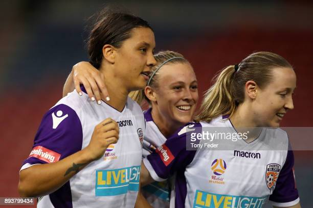 Perth Glory players celebrate a goal during the round eight WLeague match between the Newcastle Jets and the Perth Wildcats at McDonald Jones Stadium...