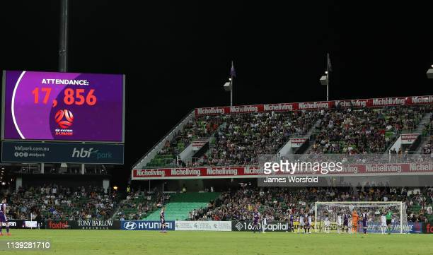 Perth glory's biggest attendance record for game at HBF Park of 17,856 during round 23 match between Perth Glory and Melbourne Victory at HBF Park on...