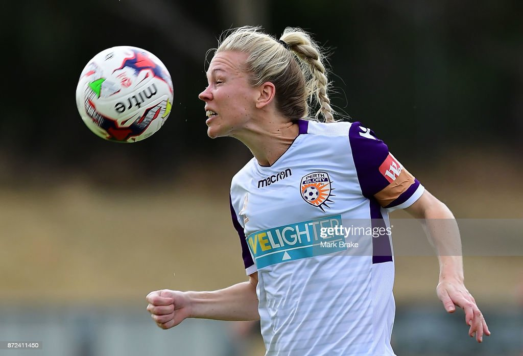 Perth Glorys Kim Carroll during the round three W-League match between Adelaide United and the Perth Glory at Marden Sports Complex on November 10, 2017 in Adelaide, Australia.