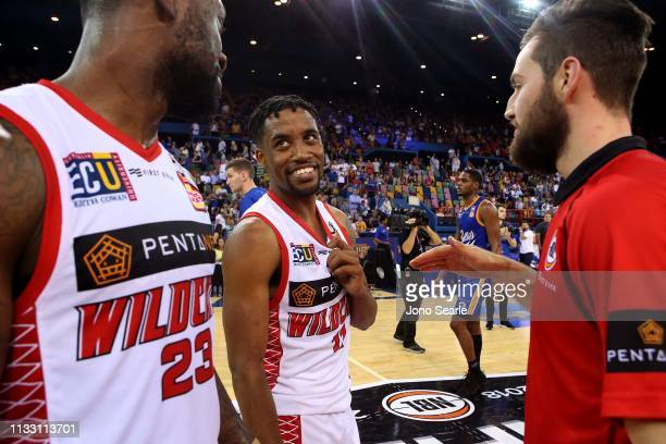 Perth player Bryce Cotton celebrates with team mates after the win during game two of the NBL Semi Final Series between the Brisbane Bullets and the...