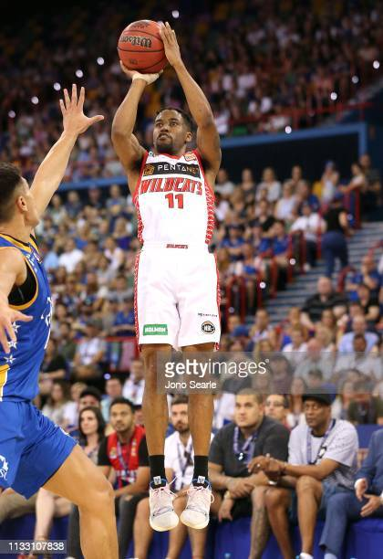 Perth player Bryce Cotton shoots the ball during game two of the NBL Semi Final Series between the Brisbane Bullets and the Perth Wildcats at the...