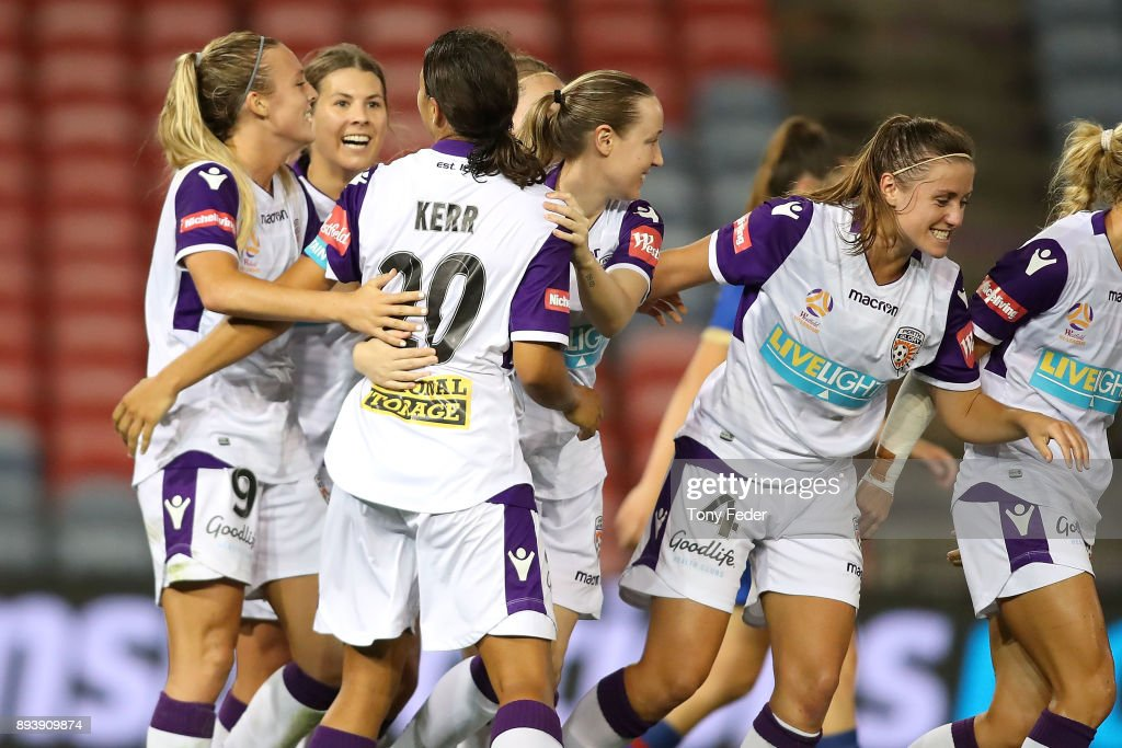 Perth players celebrate a goal during the round eight W-League match between the Newcastle Jets and the Perth Wildcats at McDonald Jones Stadium on December 16, 2017 in Newcastle, Australia.