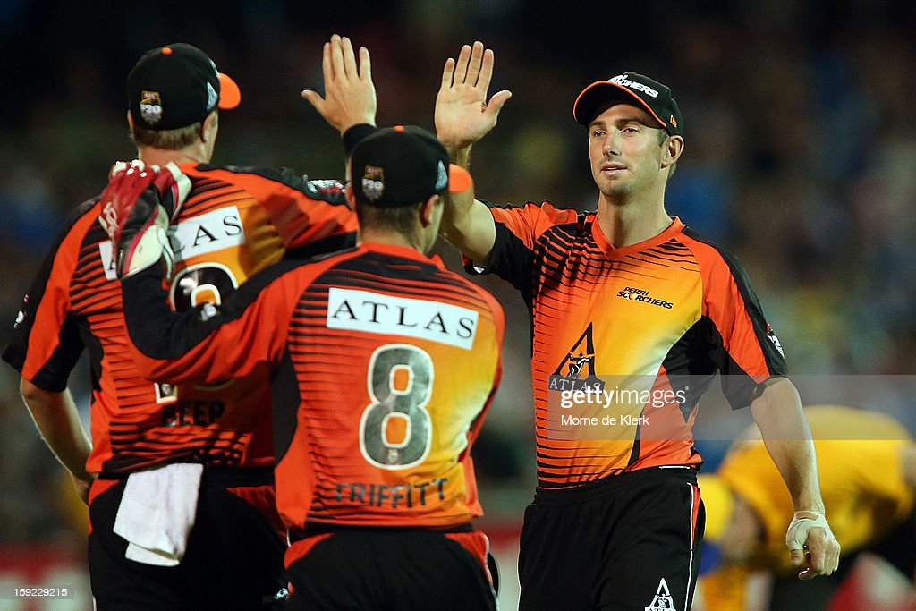 Perth players celebrate a wicket during the Big Bash League match between the Adelaide Strikers and the Perth Scorchers at Adelaide Oval on January 10, 2013 in Adelaide, Australia.