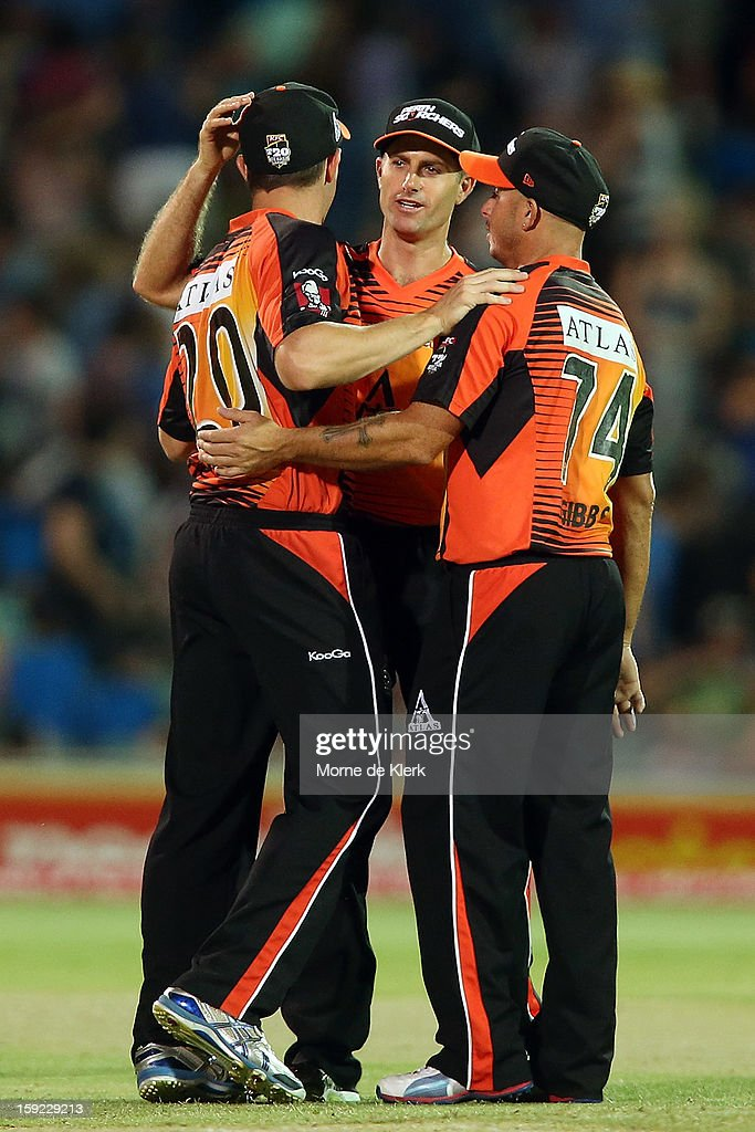 Perth players celebrate after the Big Bash League match between the Adelaide Strikers and the Perth Scorchers at Adelaide Oval on January 10, 2013 in Adelaide, Australia.