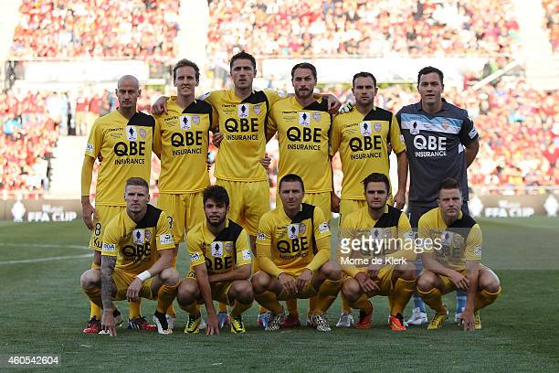 Perth players line up for a team photo before the FFA Cup Final match between Adelaide United and Perth Glory at Coopers Stadium on December 16, 2014...