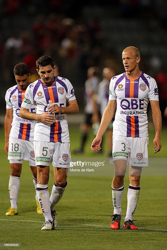 Perth players react after the round 16 A-League match between Adelaide United and the Perth Glory at Hindmarsh Stadium on January 11, 2013 in Adelaide, Australia.