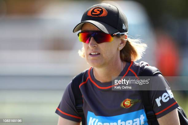 Perth Scorchers coach Lisa Keightley is seen during the Women's Big Bash League match between the Melbourne Stars and the Perth Scorchers at Casey...