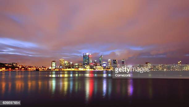 Perth Skyline in Dramatic Sky at Night
