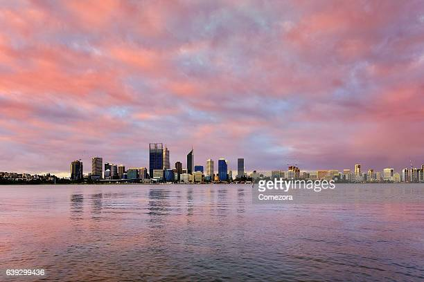 Perth Skyline in Dramatic Sky at Sunset